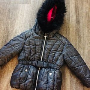 Rothschild black polka dot jacket hood fur 3T $58